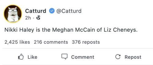 'Nikki Haley is the Meghan McCain of Liz Cheneys' – IOTW Report